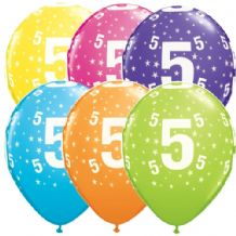 5th Birthday Stars - 11 Inch Balloons 6pcs